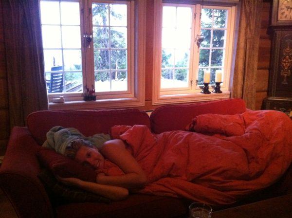 Her lå jeg hele kvelden.
